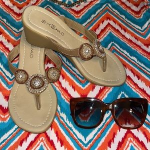 Ladies embellished wedge Sandals size 6